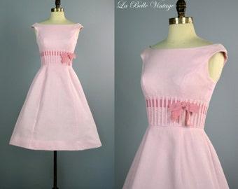 Shannon Rodgers Sundress S XS Vintage 1950s Pink Dress Cotton Pique ~ Full Skirt