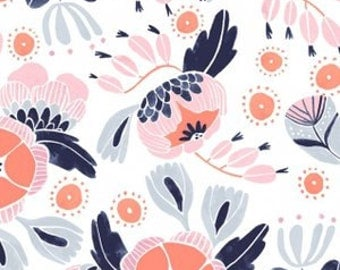 Pink Navy Blue & Peach Modern Floral Baby Nursery Crib Bedding Set CHOOSE and CUSTOMIZE