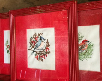 VINTAGE HOME..3 small frames embroidery birds ~ glass fronts ~ wood red frame ~ retro Christmas rustic design decor ~ contemporary