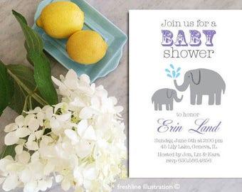 Printable Baby Shower Invitation, Elephant, Baby Shower Boy Invitation, Baby Shower Girl Invitation