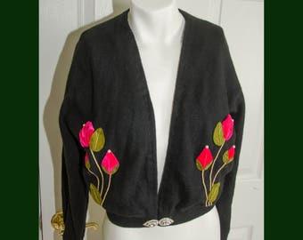 Vintage 1950s Black Ballantyne Cashmere Sweater with 3-D Rose Appliques