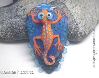GECKO...handmade lampwork bead by Anastasia...SRA...OOAK...