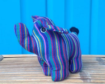 FREE SHIPPING-Vintage Guatemalan Fabric Stuffed Elephant Figurine-Striped and Colorful-Trunk Up-Good Luck-Ethnic Decor-Bohemian-Hippie-Gypsy