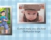 4 Matching Little boys Wedge caps with bow ties and suspenders Custom ordered fabric