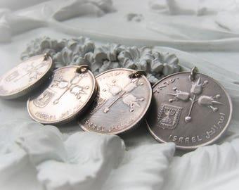 Silver Coin Pendant Israel Coin Vintage Coin Item No. 8154
