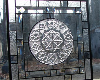 Stained Glass beveled panel Fostoria plate