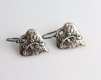 Silver Heart Earrings - Dangles - Heart Earrings - Oxidized Sterling