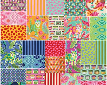 "SQ29 Tula Pink TABBY ROAD Precut 5"" Charm Pack Fabric Quilting Cotton Squares Free Spirit FB6CPTP.42016"