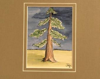 Art -  pine tree Farm Scene- Original art watercolor Standing Ahead of the Front