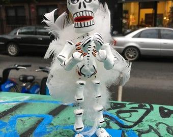 "Deluxe 9"" Tall Day Of The Dead Angel Skeleton Figurine, Dia de Los Muertos Guardian Angel Sculpture"