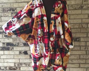 Plus Size Roomy Fleece Jacket/Shrug Christmas Dogs