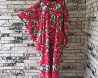 Plus Size Fleece Caftan Poppy Design