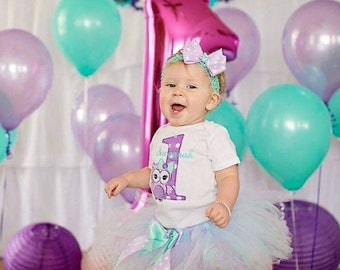 Owl First Birthday Outfit, 1st Birthday Owl Tutu, Includes Tutu, Bodysuit and Hair Bow