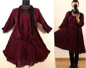 Wein Red FLOATY CRINKLE DRESS with matching Scarf us Plus Size 14 16 18 20 1X 2X Gypsy Gothic Hippie Lagenlook Linen Spring Summer