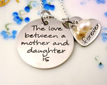Love Between Mother and Daughter Is Forever Necklace or Bangle Bracelet -  Personalized Engraved Jewelry