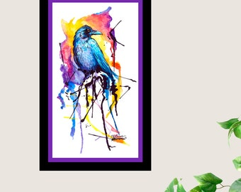 Rainbow Raven Bird Crow Original Watercolor 9 X 5
