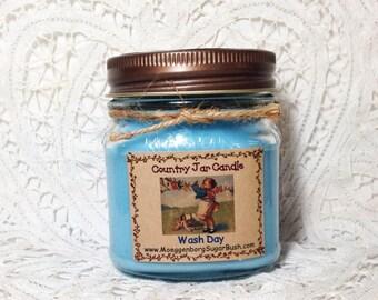 Mason Jar Candle half pint Wash Day Country Moeggenborg Sugar Bush