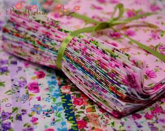 Vintage Fabric Bundle Pack Cotton Floral Flower Print Retro Lawn Charm Scraps Remnants Precut Yard Assortment Assorted Destash Lot Grab Bag