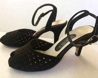 Vintage 30's Suede Pumps, Dark Brown Ankle Strap Open Toe Shoes Size 6 1/2 M