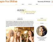 "Spring Sale Responsive Blogger Template /  Premade Blog Design - ""Olivia Sparrow"" Black Gold"