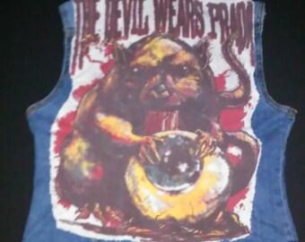 Women's Studded Jean Vest The Devil Wears Prada Back Patch Denim Studded Heavy Metal Cutoff Vest Size Medium Heavy Metal Women's Clothing