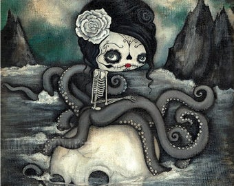 Sugar Skull Original Painting Cute Dead Octopus Nautical Skeleton Wall Art  20 x 20