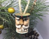 Carved Santa Or Saint Nick Vintage Sewing Spool Ornament Primitive Wood Carved Santa Thread Spool, Green
