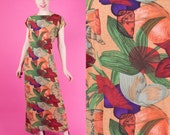HALSTON Vintage 70s Painted Floral Print Maxi Dress 1st Label Plus Size 46/L/XL/XXL