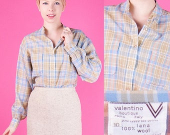 VALENTINO Vintage 70s Wool Plaid Button-Down Shirt PASTEL Beige Blue ITALY s/m/l