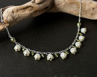 Lily of the valley spring beadwoven necklace