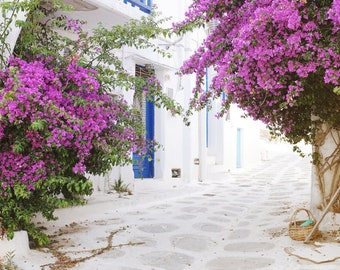 """Greece travel photography white pink blue wall art bougainvillea flowers whitwashed street """"Greece Flowers One"""""""