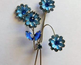 Vintage Rhinestone Enamel Brooch Flower Jewelry Forget Me Not Pin