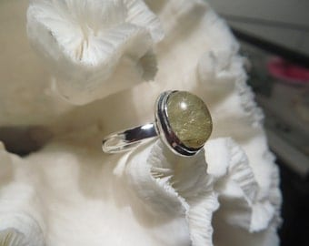 Golden Rutile Agate Ring Size 8.5