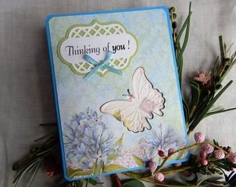 Handmade Birthday Card: complete card, handmade, balsampondsdesign, butterflies, purple, green, greeting card, birthday card