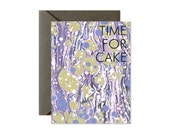 TIME FOR CAKE Marble Bubbles Khaki/Periwinkle/Pink Greeting Card - Single Card