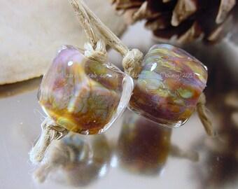 Handmade lampwork glass bead pair, Artisan glass beads, green beads, gold beads, purple beads, pink beads, lampwork earring pair, SRA