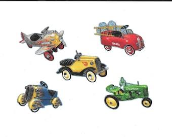 Fabric iron-on appliques: kiddie peddle  rider toys,