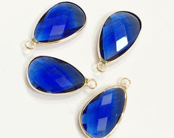 4 glass faceted teardrop pendant with Gold frame, Blue glass drops 22x11.5mm, framed glass teardrops