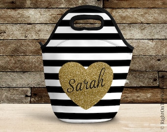 Reuseable Lunch Bag for Women, Glitter Heart, Personalized Lunch Tote, Large Insulated Lunch Box, Custom Name Lunch Tote, Pattern Bag