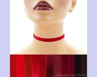 Red Velvet Choker 3/8 inch wide Custom made Your Length and Color shade (approximate width 0.375 inches; 9 - 10 mm) elastic colors noted