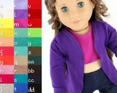 Fits like American Girl Doll Clothes - Cardigan, You Choose Color, Made To Order
