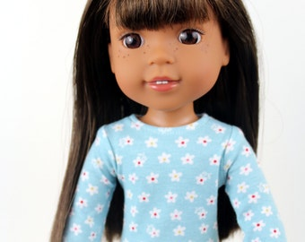 Fits like Wellie Wishers Doll Clothes - Long Sleeve Tee in Aqua Calico Daisy