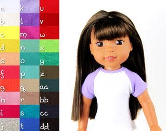 Fits like Wellie Wishers Doll Clothes - Short Sleeve Baseball Raglan Tee, You Choose Colors