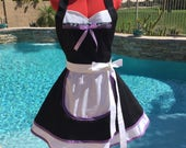 French Maid Sassy Apron with White Underskirt and Overlay, Womens Misses, Plus Sizes, Sexy Maid Pin Up Costume, Cosplay, Kitchen DIva Apron