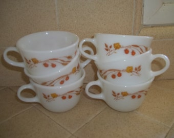 Pyrex Harvest Home Set of 6 Coffee Cups, Vintage Pyrex Coffee Cups, Tea Cups, Coffee Mugs