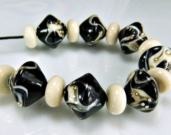 Black Ivory Silver Biacone  Lampwork Bead Set SRA Glass Beads