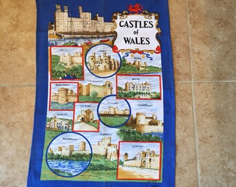 Vintage Kitchen Tea Towel Castles of Whales Clive Mayor Retro