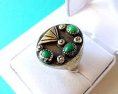 Men's Fred Harvey Era Sterling Silver and Turquoise Ring Size 10.5