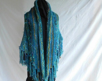 One of A Kind Handknit Fashion Shawl In Shades of Turquoise, Green And Golds Using Luxury Yarn