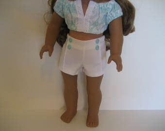 18 Inch Doll Clothes - Aqua Print Crop Top Outfit made to fit dolls such as American Girl and Maplelea doll clothes